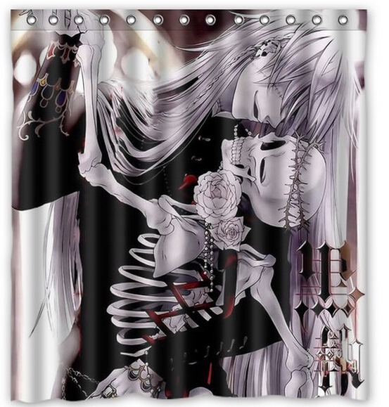 Aliexpress Com Buy Free Shipping Black Butler Kiss Skull Custom Shower Curtain Home Decor Waterproof Fabric Fashion Bath Curtain Scn 087 From Reliable