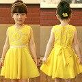 2017 Novos Girassóis Meninas Verão Vestido de Princesa Bebê Menina Vestido de Chiffon Com Cinto Amarelo Vestido de Verão Roupa Dos Miúdos Vestido De Menina