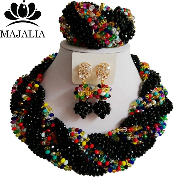 2017 Fashion black african crystal beads necklace set nigerian wedding african beads jewelry set P-4274