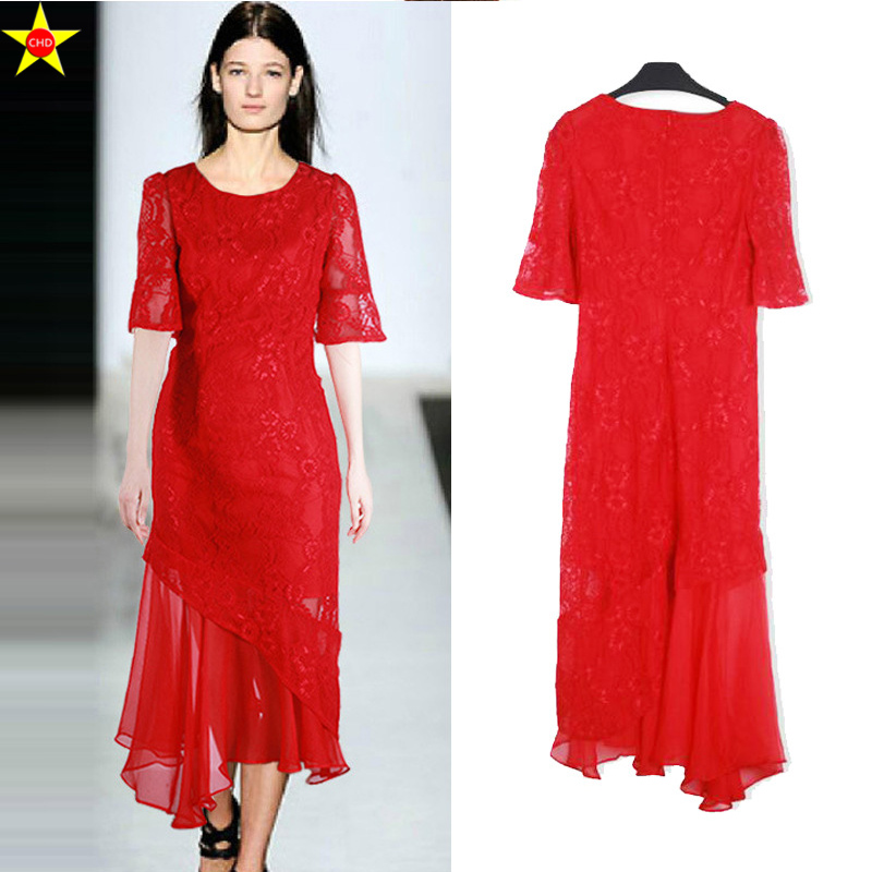 Vêtements Rouge Dentelle La Grande Asymétrique L Élégante Robes Femmes 5xl Mode Taille Casual De Robe D'été Femme 2019 Plus wqaaUPxEY