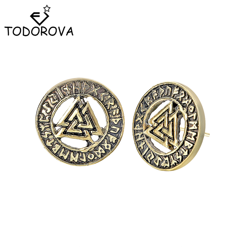 Todorova Slavic Norway Valknut Pagan Amulet Mens Earrings Scandinavian Viking Jewelry Odin 's Symbol Warrior Stud Earrings