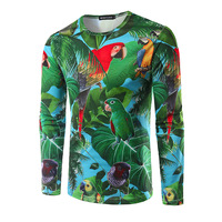 Plus Size Mens T Shirts Fashion New Men Gorgeous 3 D Printing Parrot Long Sleeved Casual