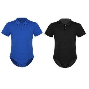 Image 2 - TiaoBug גברים קצר שרוולים תורו למטה צווארון הצמד מפשעה חולצה בגד גוף Romper פיג מה סקסי זכר מקשה אחת מקרית חולצות תלבושות