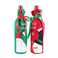 20pcs Santa Claus Snowman Design Wine Bottle Cover Red Wine Gift Bags Pretty Christmas Decoration Supplies Xmas home ornaments