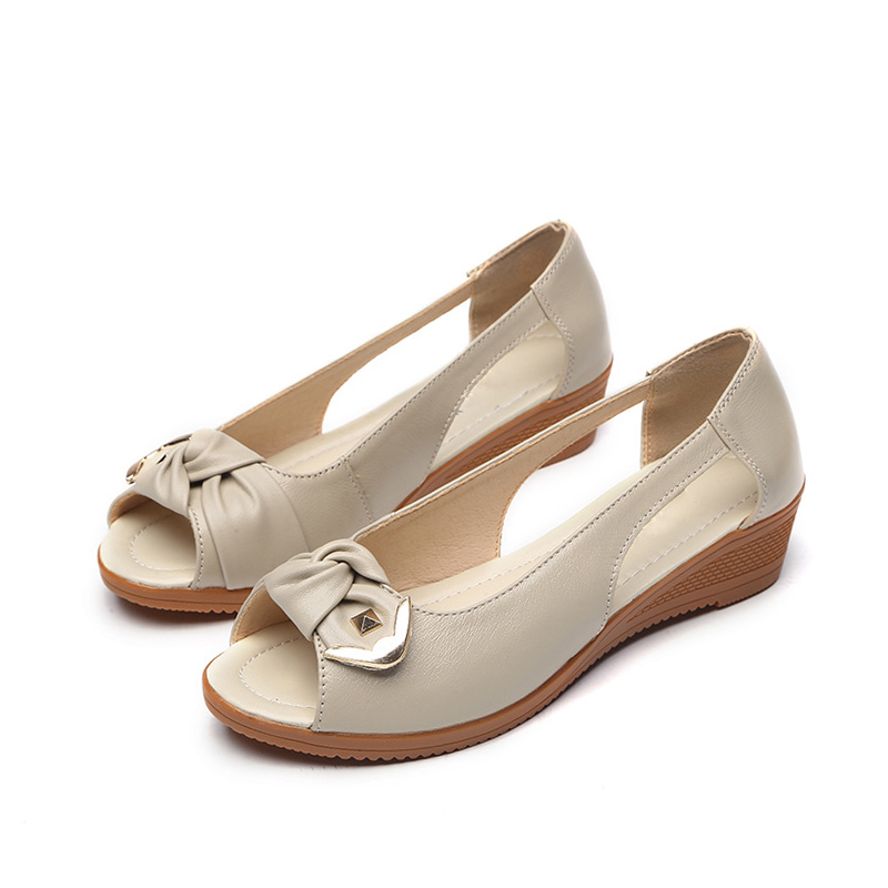 E TOY WORD Women sandals summer leather fish mouth Wedges ladies bow sandals casual shoes professional mother women shoes