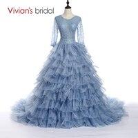 ea98f419e40f6 Vivian S Bridal 2016 New Design Luxury Princess Ball Gown Dress Long Sleeve  Ruffles Wedding Dress