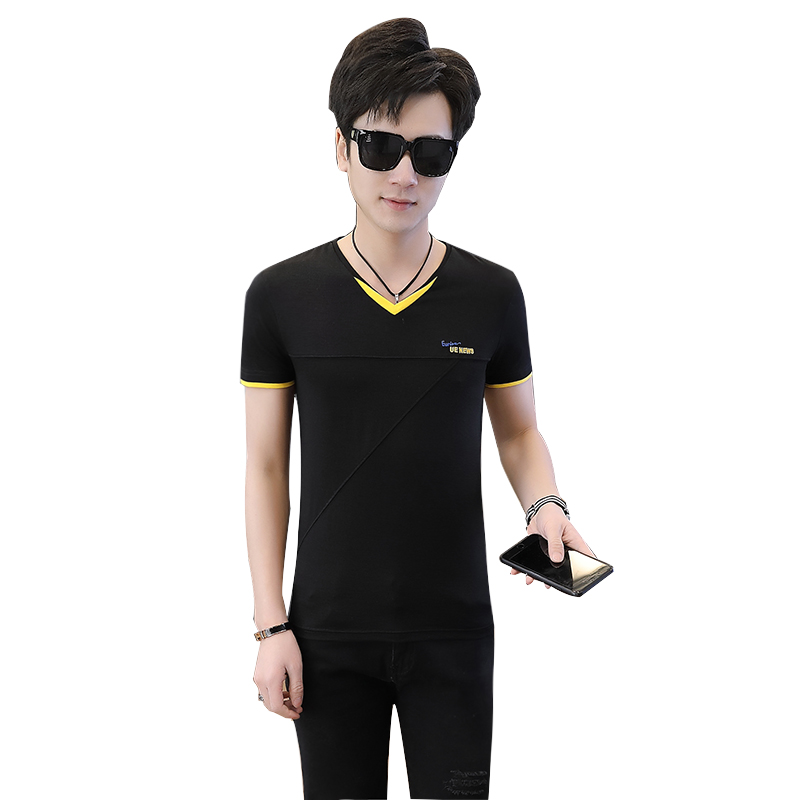 2019 summer new solid color v-neck youth male Korean version of the trend of men's short-sleeved cotton t-shirts 5