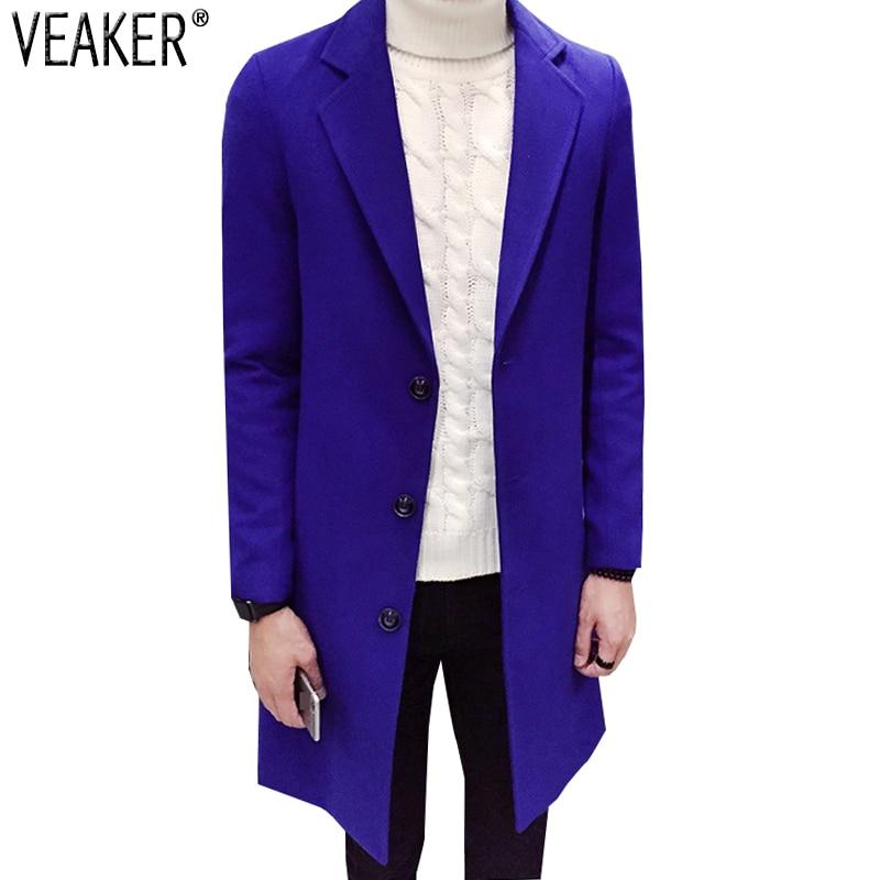 2019 Autumn Winter Men's Wool Blends Long Coat Jacket Male Cashmere Overcoats Outerwear Slim Fit Blue Black Wool Coats M-3XL