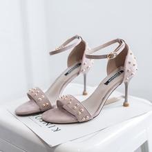 купить New women Sexy Rivet shoes gladiator sandals woman Flock 9cm Thin Heels sandalias mujer 2019 Summer Open toe Party High heels по цене 1055.28 рублей