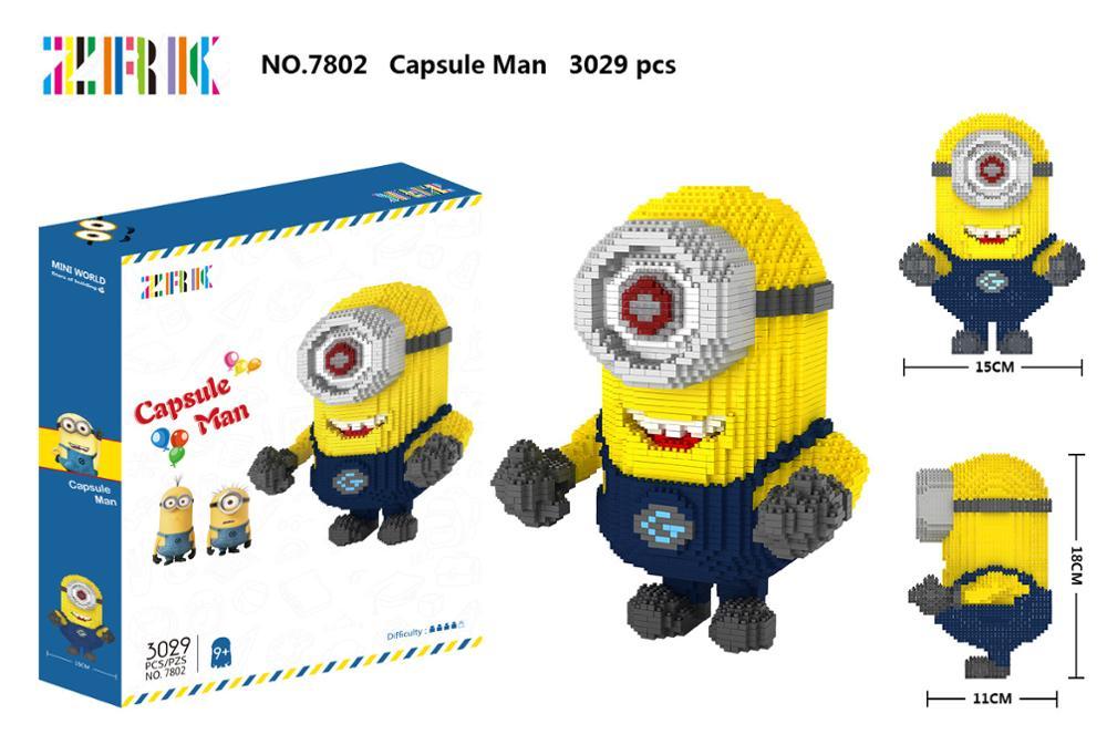 Minions Minion film Stuart conception bloc 3029 pièces dessin animé diamant bloc jouet