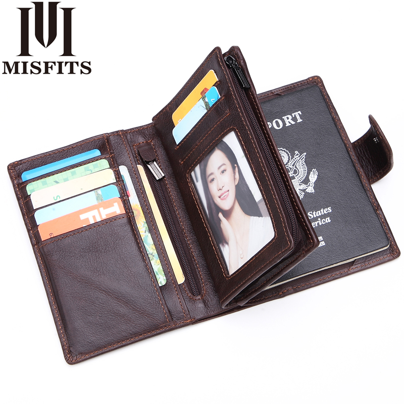 MISFITS Mens Wallets Genuine Leather Passport Holder Wallet Man Vintage Cowhide Passport Cover Brand Male Zipper&Hasp Coin Purse simline vintage handmade genuine leather cowhide cover a6 loose leaf traveler s notebook diary passport holder cover wallet men