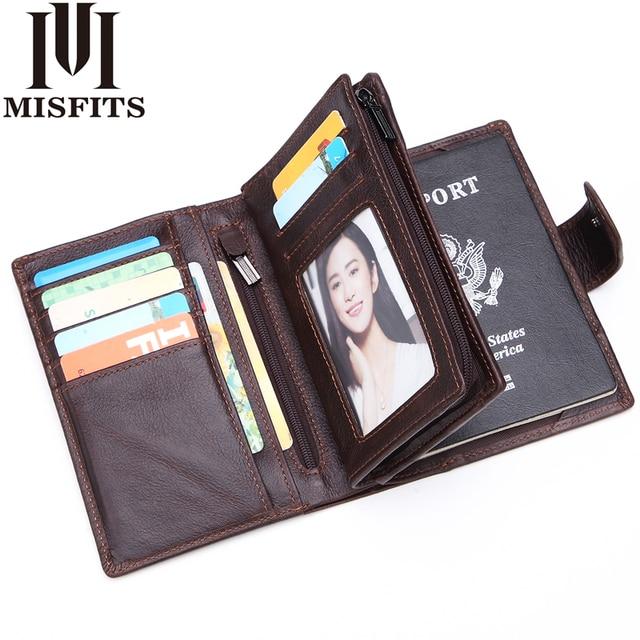 MISFITS Mens ארנקי עור אמיתי דרכון מחזיק ארנק איש עור פרה בציר דרכון כיסוי מותג זכר רוכסן וhasp מטבע