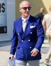 Your royal blue side, formal jacket, pants in the latest design of clothing, men's tuxedo, wedding dress, the groom suit, Slim F
