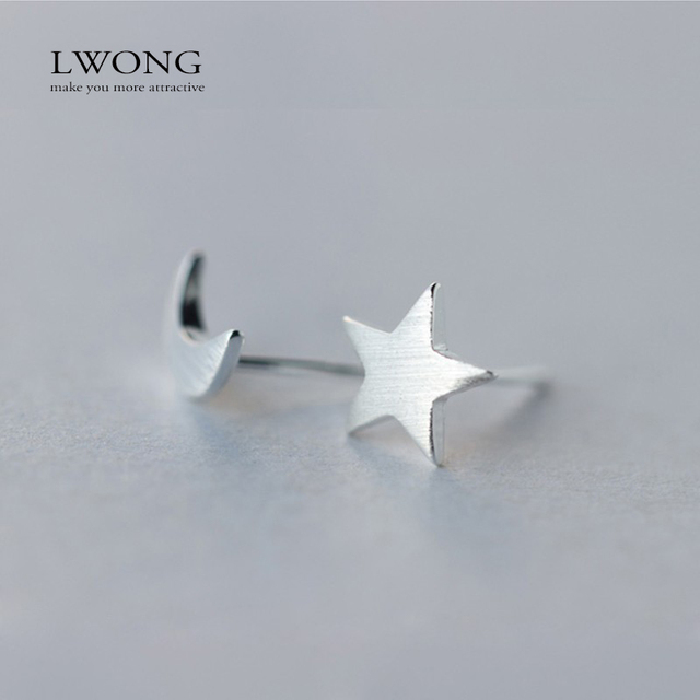bcfecbe6c Boho Jewelry 925-Sterling-Silver Crescent Moon & Star Stud Earrings  Minimalist Simple Small