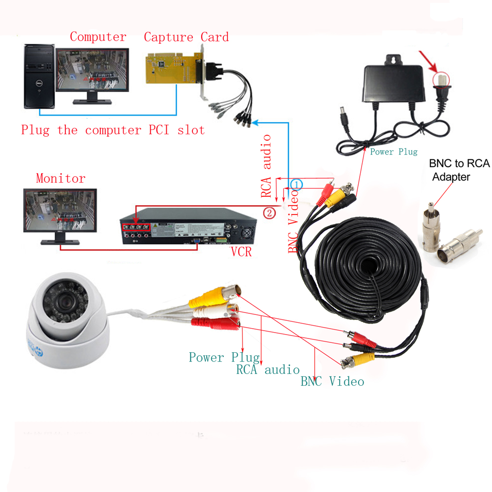 50FT 15M CCTV Camera Video Audio /& Power Cable BNC RCA DVR