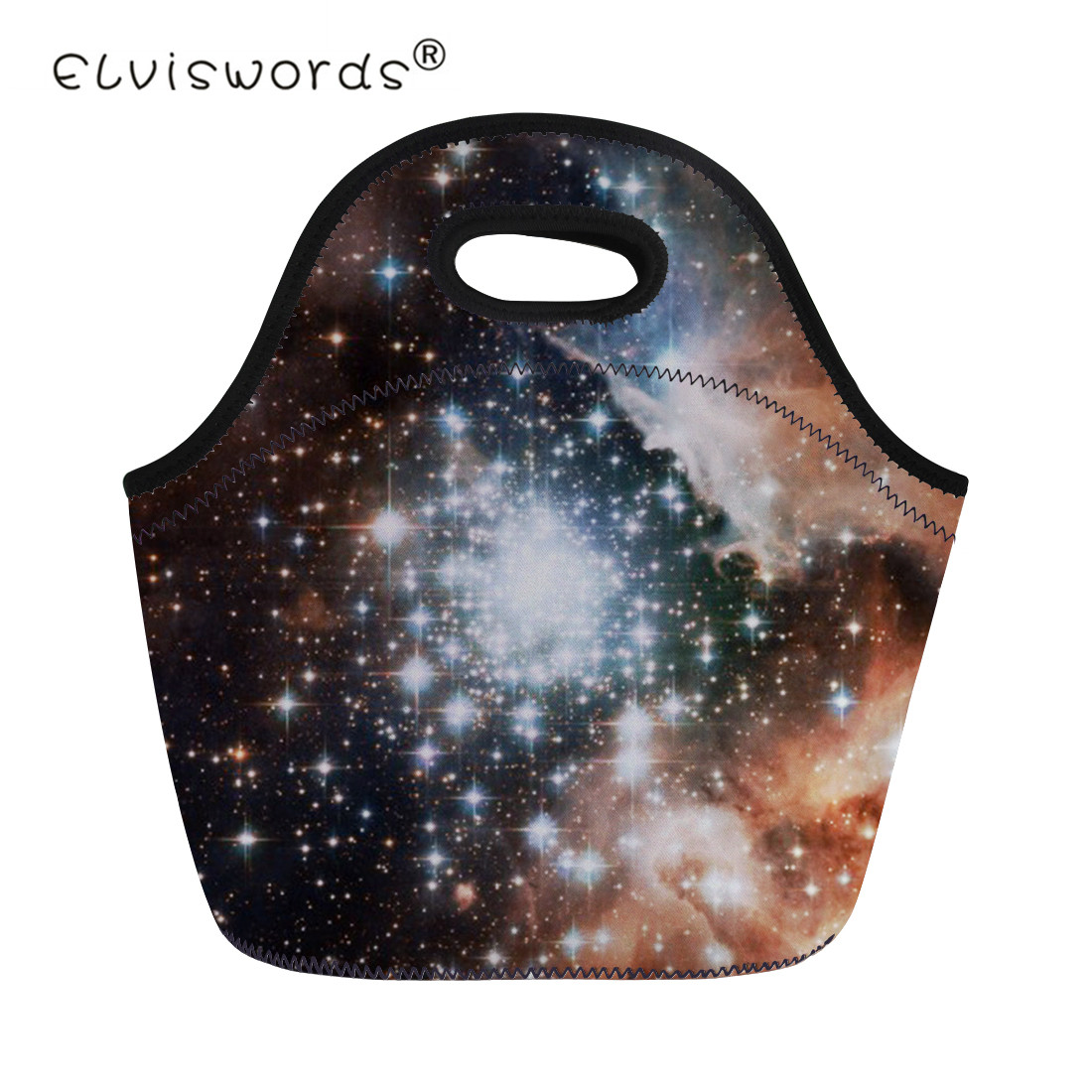 ELVISWORDS Star Galaxy Portable Insulated Women Men Lunch Bag Kids Thermal Food Picnic Bags Girls Boys Cooler Lunch Box Tote