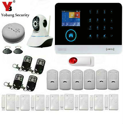 YoBang Security HD Touch Screen Android/IOS Application 433HZ Wireless Home Security Alarm System Wireless IP Camera+Smoke Alarm