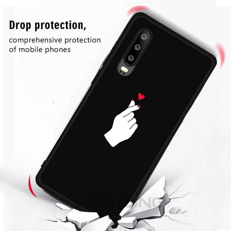 Amor Coração Padrão Case For Huawei Honor V20 8X10 Lite Y6 Y7 Prime 2018 Y9 Companheiro 20 10 lite P30 P20 Pro Nova3 4 Macio Tampa Do Telefone