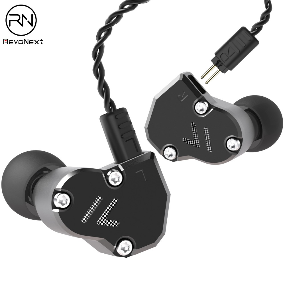 Revonext QT2S In Ear Monitor, Triple Driver Headphones 2DD+1BA Banlanced Armature With Dynamic Metal Shell Noise-Isolating Deep
