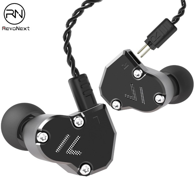 Revonext QT2S in Ear Monitor, Triple Driver Headphones 2DD+1BA Banlanced Armature with Dynamic Metal Shell Noise Isolating Deep
