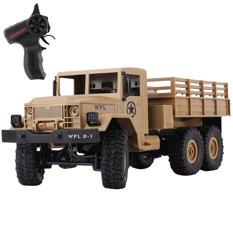 WPL B-16 1:16 Remote Control Military Truck 6 Wheels Drive Off-Road RC Car 4WD battery-powered Climbing Car RTR Toy for Children цена