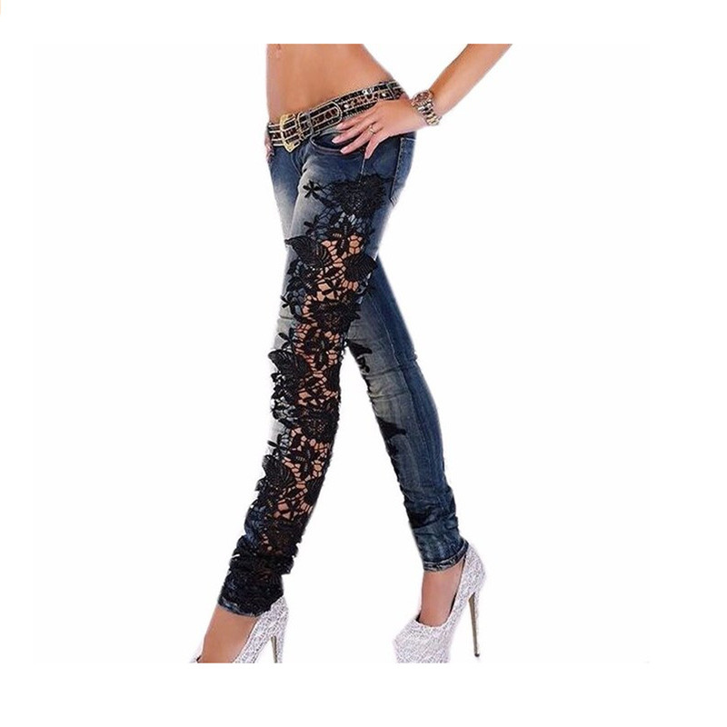 Early Spring New Women Fashion Side Lace Jeans Hollow Out Skinny Denim Jeans Woman Pencil Pants Patchwork Trousers for Women