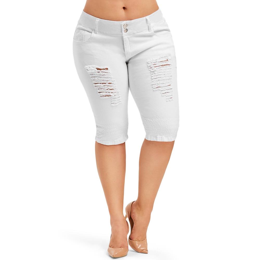 ROSE GAL Plus Size Skinny Capris   Jeans   Woman Female Knee Length Denim Shorts Mid Waist Ripped   Jeans   Women Summer Pants Trouser