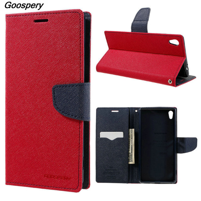more photos 79ca8 c4b5d For Sony XA Ultra Case MERCURY Goospery Leather Wallet Flip Cover Case for  Sony Xperia XA Ultra C6 F3211/Dual F3212 F3216-in Flip Cases from ...