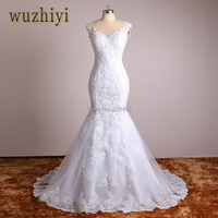 WUZHIYI Real Photo Lace Appliques Mermaid Vintage Wedding Dresses Plus Size China Bridal Gown Wedding Dress