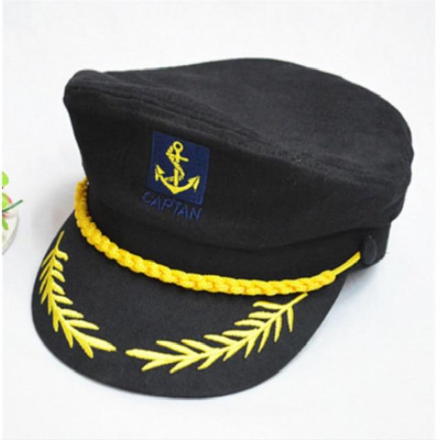 Gorra militar negra Blanca Roja a rayas soldado ajustable capitán marinero  sombrero ejército Vintage policía hueso cd700e383e6