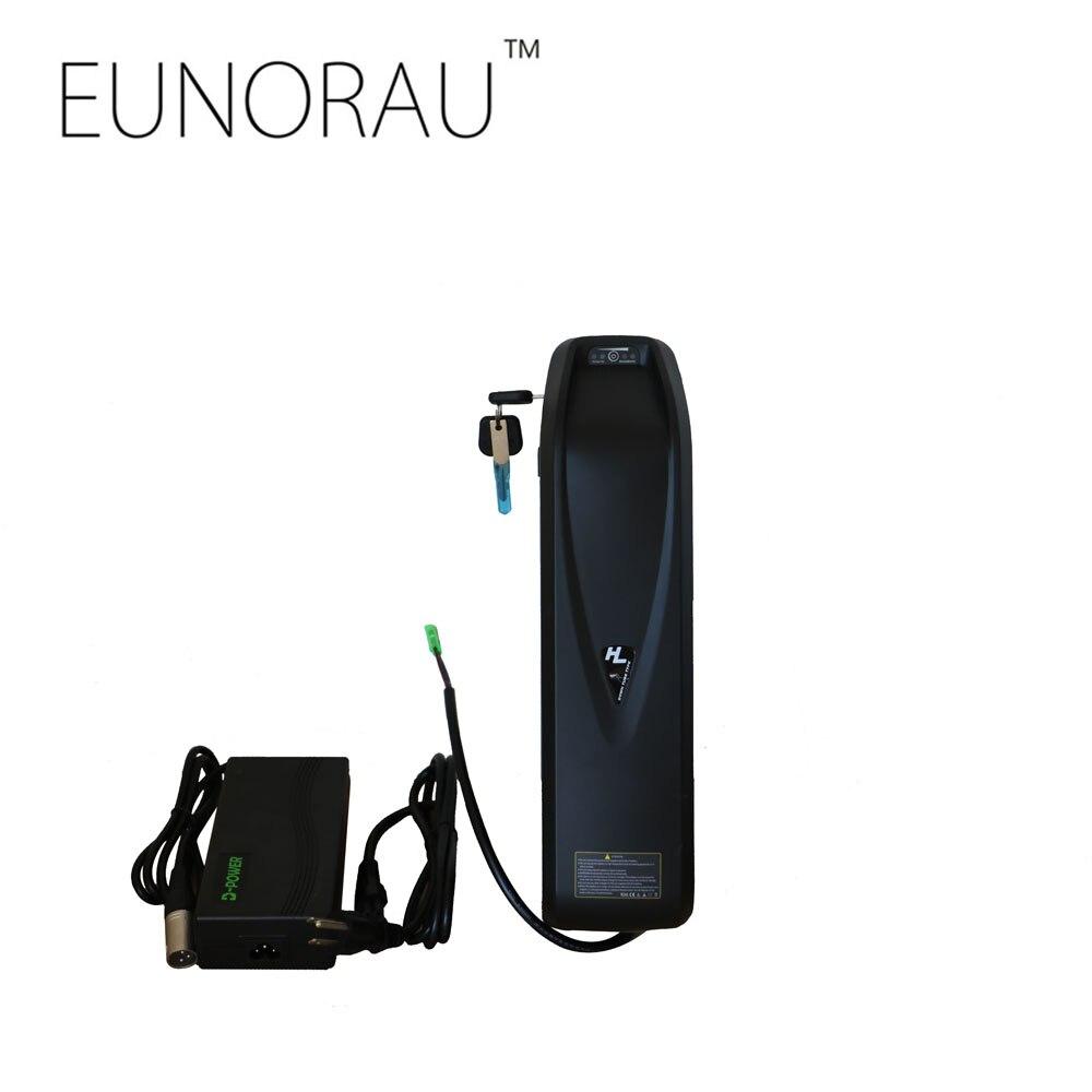 Spedizione gratuita ebike 52V14Ah 18650 celle Hailong batteria con USB charing porta bottiglia di acqua tubo obliquo