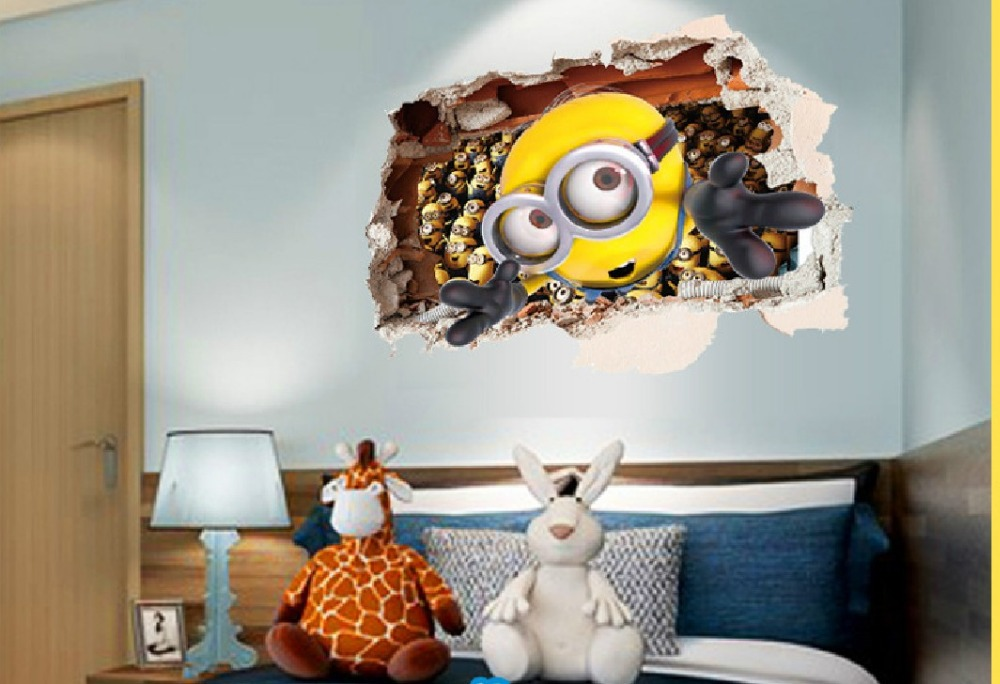 3d cartoon despicable me 2 wall stickers creative home for Home decor 3d stickers