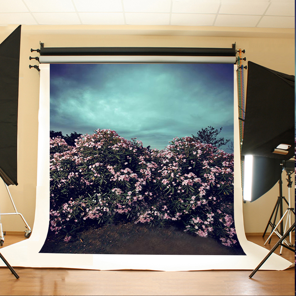 Wedding Photography Backdrops Cloudy Sky Birthday Photo Backdrops Pink Flower Leaves Wedding Background for Photographic Studio
