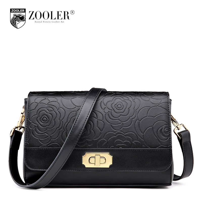ФОТО ZOOLER Crossbody Bags Made Of Genuine Leather Embossed Design Bolso Mujer Moda Hardware Turn Lock Messenger Bag Hot Fashion