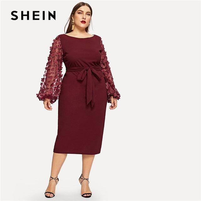 5f5c260d34 SHEIN Burgundy Women Plus Size Elegant Pencil Dress With Applique Mesh  Lantern Sleeve High Street Belted