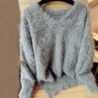 本物のミンクカシミアのセーター女性のカシミヤコート純粋なミンクカスタマイズされたサイズと色送料無料vネックセーターwsr296