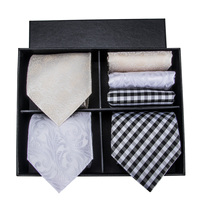 Hi Tie Silk Mens Ties Hanky Cufflinks Set Tie with Gift Box Hand Jacquard Woven Paisley Necktie Gift Ties for Men FN 004