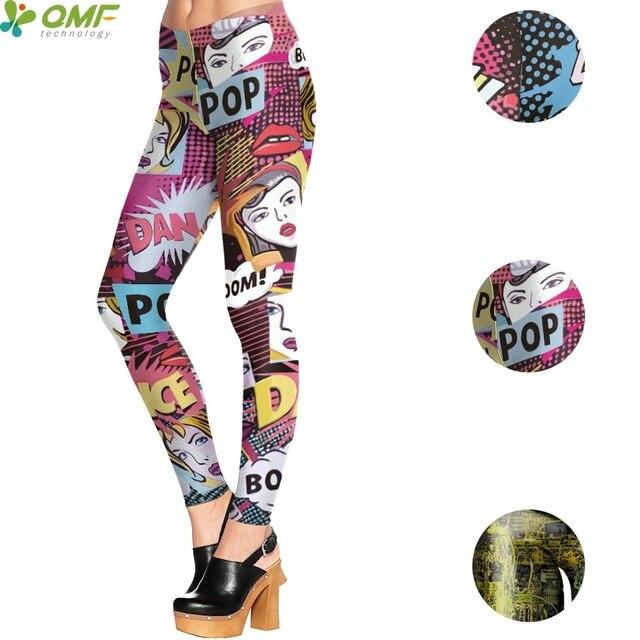 Pop Art Graffiti Print Yoga Pants Street Skinny Leggings Colorful Doodle Fitness Tights Punk Women Halloween