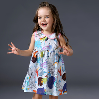 2017 Summer Cute Peter Pan Collar Baby Girls Dress Korean Style Graffiti Designs Baby Princess Dress