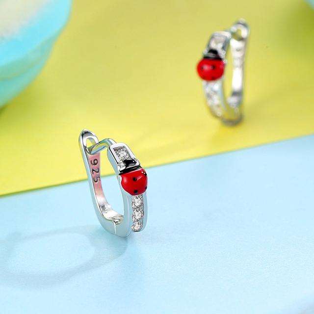 Cute Animal Ladybug Earrings For Child Red Enamel Small Ladybird Stud Earrings Fashion Jewelry Gift