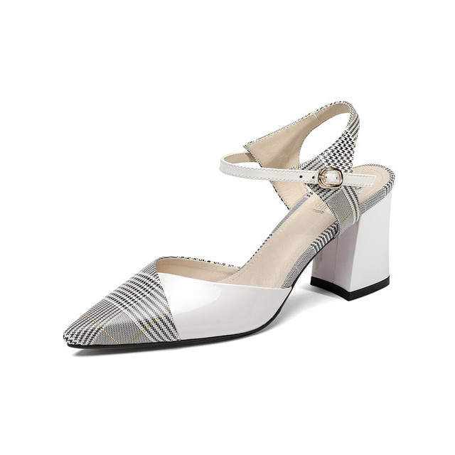 Sandals High Pointed Checks Summer 8 Fashion Aikelinyu Genuine 2019 New Lady Us40 Women Pumps 52OffBuy Leather End Heels Brand DWE2H9IY