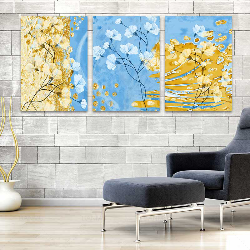3 pieces abstract flower photo print poster wall art canvas painting picture office artwork for living room home decoration