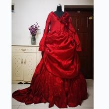 купить new red Vintage costumes 18th Duchess Retro medieval Renaissance Reenactment Theatre Civil war Victorian dress D-266 дешево