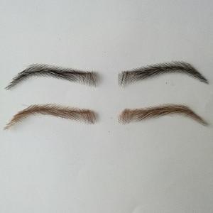 Image 2 - hand made human hair man false eyebrow black color hand knot fake eyebrow invisible swiss lace hand eyebrows