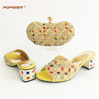 New Arrival Gold Color Italian Shoes With Matching Bag Set Decorated With Rhinestone African Shoe And