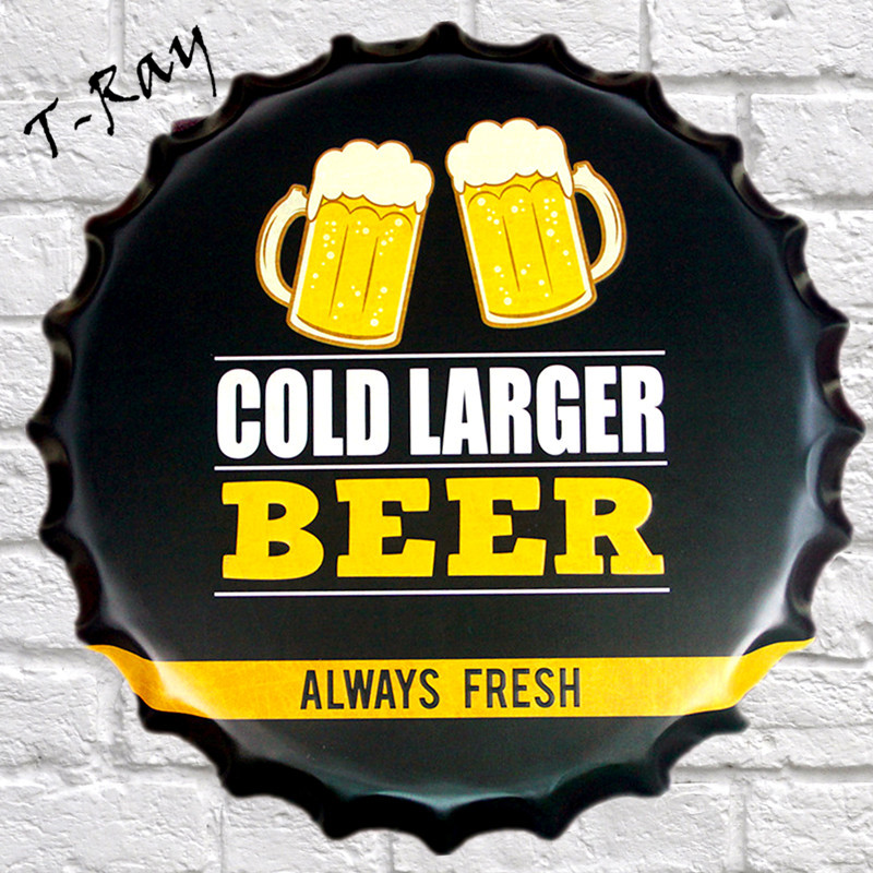 40x40cm round bottle cap COLD LARGER BEER Vintage Metal Painting Signs Bar Pub Wall Decor Retro Mural Poster Craft RD 64