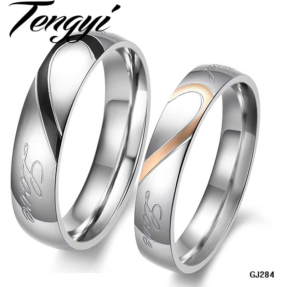 Tengyi Romantic True Love Promise Ring Sets Couple Stainless Steel