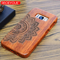 BROEYOUE For Samsung Galaxy S8 S5 S6 S7 S9 Edge Plus 100 Retro Nature Wood Case