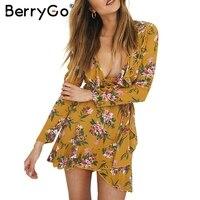BerryGo Ruffle Floral Print Wrap Dress Women Sexy V Neck Mini Dress Long Sleeve Autumn Dress