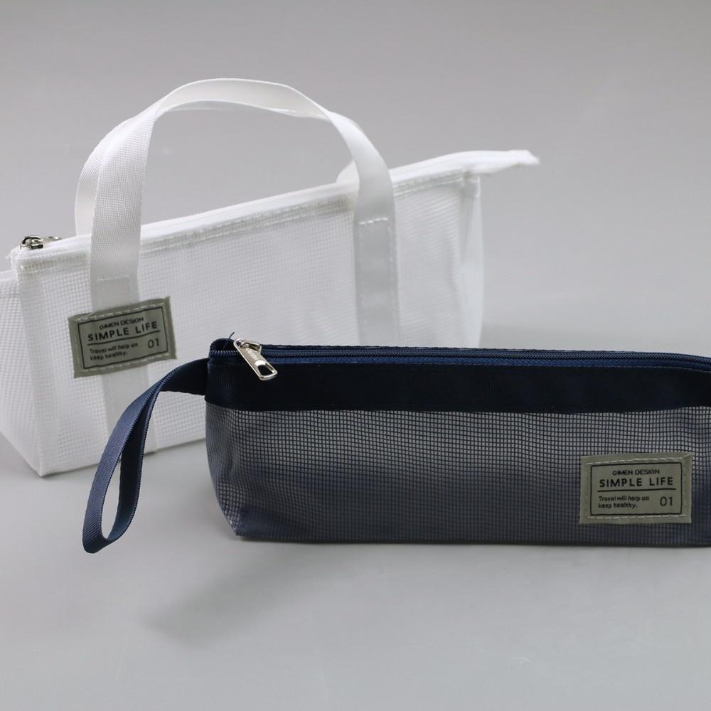 Simple Transparent Mesh Pencil Case PVC Zipper File Document Bag Student Book Pen Pencil Cases School Office Supplies GC05 A627 in File Folder from Office School Supplies